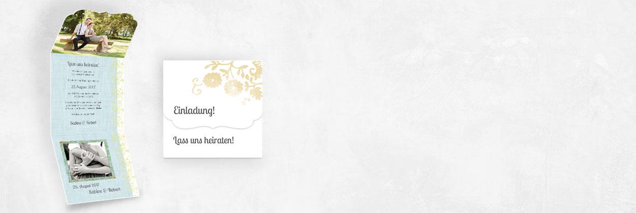 Einzigartige Designs für vintage Hochzeitseinladungen online gestalten und drucken lassen