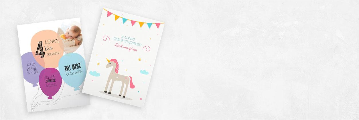 Einzigartige Designs für Kindergeburtstagseinladungen online gestalten und drucken lassen