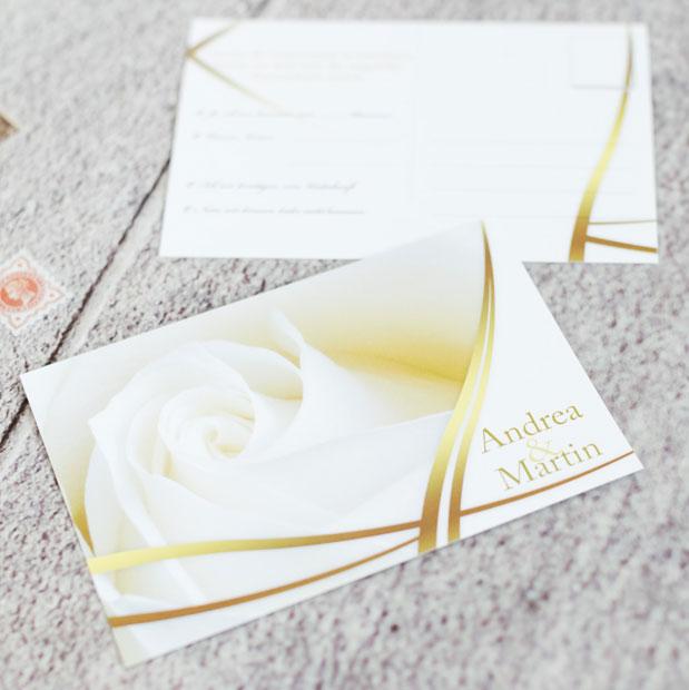 Unvergleichliche Antwortpostkarten für die Hochzeitseinladung online gestalten und lasern lassen
