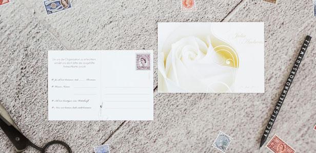 Exklusive Antwortpostkarten individuell online gestalten und drucken lassen