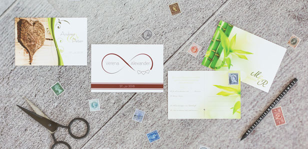 Einzigartige Antwortpostkarten online gestalten und drucken lassen