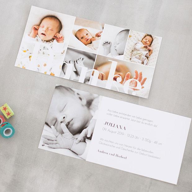 Unvergleichliche Geburtskarten online gestalten und drucken lassen