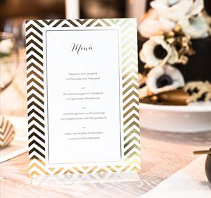 Wunderbare Menükarten für Ihre Hochzeitstafel