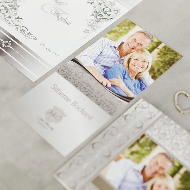 Traumhafte Einladungskarten für die silbernen Hochzeit
