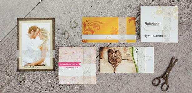 Individuell bedruckte Transparente Banderolen veredeln Ihre Hochzeitseinladungen und Dankeskarten