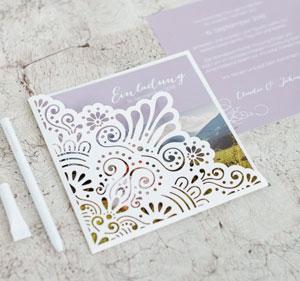 Lasercut Schuber für Ihre Hochzeitseinladung oder Dankeskarte