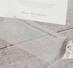 Transparente Einlageblätter für Ihre Hochzeitseinladung oder Dankeskarte