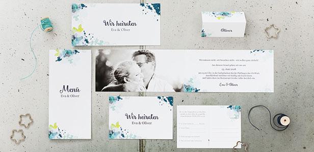 Hochzeitseinladungskarten mit künstlerischen Motiven