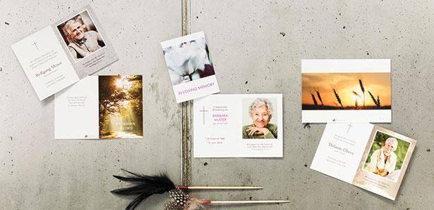 Stilvolle Sterbebilder individuell online gestalten und drucken lassen