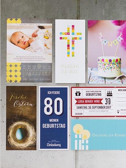 Druckprodukte für sämtliche Anlässe wie Geburt, Taufe, Weihnachten, Ostern, Geburtstag, Jubiläum, Abitur und Matura, Konfirmation, Kommunion und Trauer von Dankeskarte.com