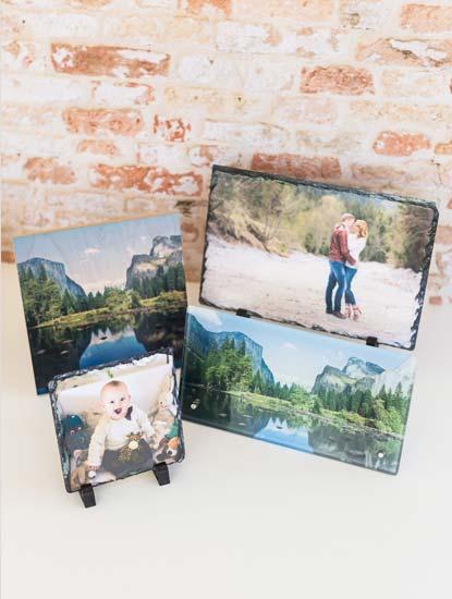 Fotoaufsteller aus Glas, Stein oder Holz bedrucken lassen