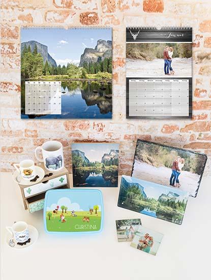 Fotoprodukte wie Kalender, Tassen, Fotoaufsteller, Bilderboxen und Wanduhren drucken lassen bei Dankeskarte.com